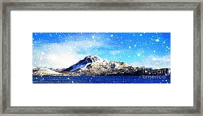 Blue Sky And Snowing On The Hill Painterly  Framed Print by Barbara Griffin