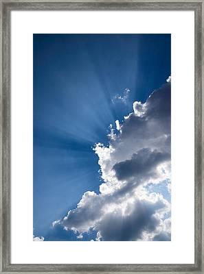 Blue Sky And Sunbeams Framed Print by Georgia Mizuleva