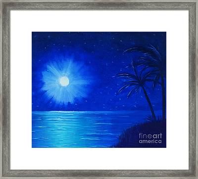 Framed Print featuring the painting Blue Sky At Night by Arlene Sundby