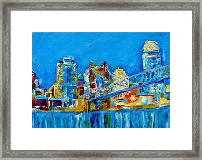 Blue Sky Cincinnati Framed Print by Kat Griffin