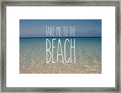 Blue Sky Golden Beach Sand Calm Ocean Waters Framed Print by Beverly Claire Kaiya