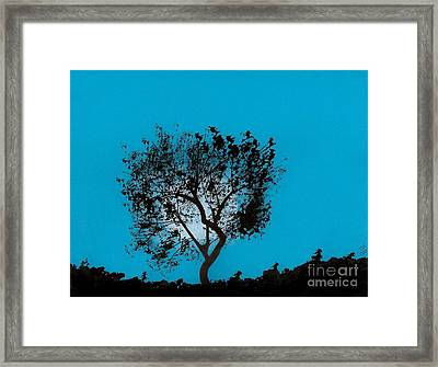 Framed Print featuring the drawing Blue Sky Moon by D Hackett