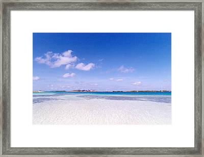 Blue Sky Over White Sandy Beach Framed Print