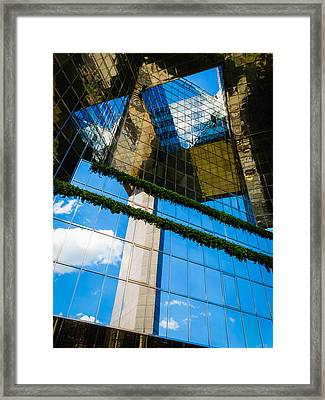 Framed Print featuring the photograph Blue Sky Reflections On A London Skyscraper by Peta Thames