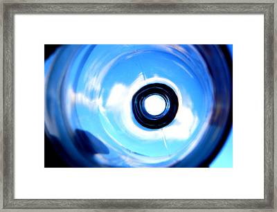 Blue Sky Through Rye Bottle Framed Print by Anne Babineau