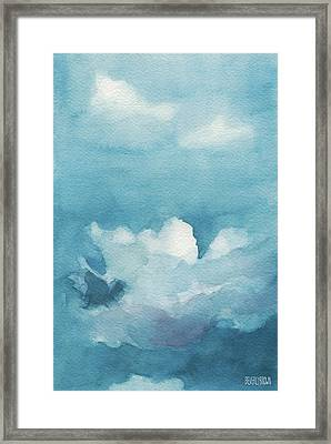 Blue Sky White Clouds Watercolor Painting Framed Print by Beverly Brown