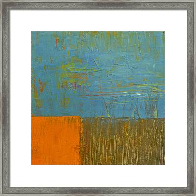 Blue Sky With Orange And Brown Framed Print by Michelle Calkins