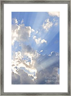 Blue Sky With Sun Rays Framed Print