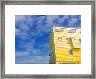 Blue Sky Yellow House Framed Print