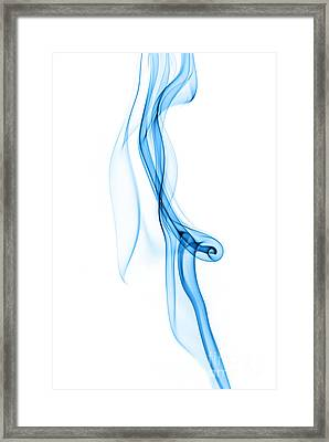 Blue Smoke Abstract On Perfect White Framed Print