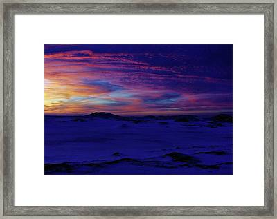 Framed Print featuring the photograph Blue Snow Sunset by Kathi Mirto