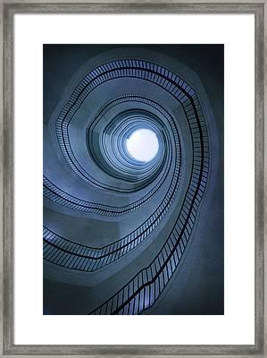 Blue Spiral Staircaise Framed Print by Jaroslaw Blaminsky