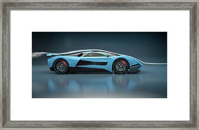 Blue Sports Car In A Wind Tunnel Framed Print by Mevans