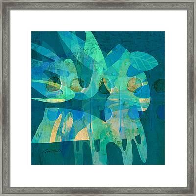 Blue Square Retro Framed Print by Ann Powell