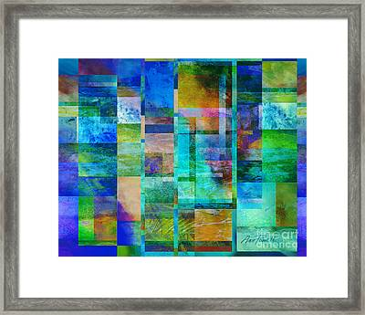 Blue Squares Abstract Art Framed Print by Ann Powell