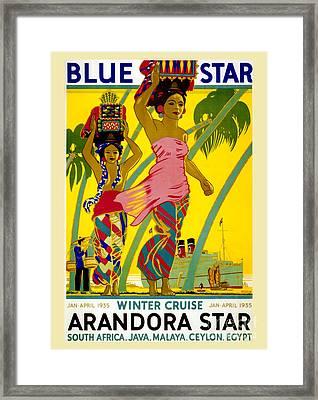 Blue Star Vintage Travel Poster Framed Print by Jon Neidert