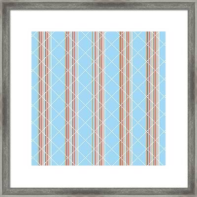 Blue Stripe Pattern Framed Print by Christina Rollo