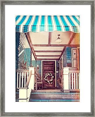 Blue Striped Awnings Framed Print