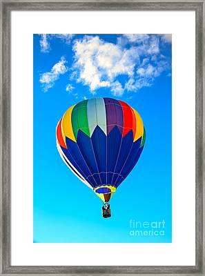 Blue Striped Hot Air Balloon Framed Print by Robert Bales