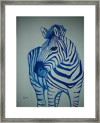 Framed Print featuring the painting Blue Stripes by Justin Lee Williams