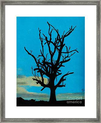 Framed Print featuring the drawing Blue Sunset by D Hackett