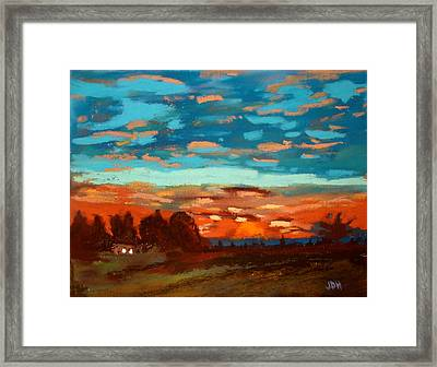 Blue Sunset Pastel Framed Print