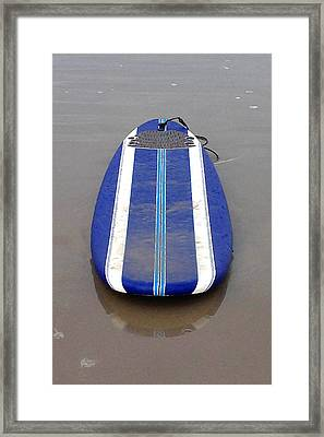 Blue Surfboard Framed Print by Art Block Collections