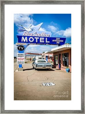 Blue Swallow Motel Framed Print by Bob and Nancy Kendrick