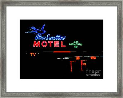 Blue Swallow Motel Neon Sign Framed Print by Catherine Sherman