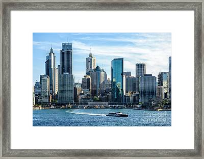 Blue Sydney - Circular Quay And Sydney Harbor With Skyscapers And Ferry Framed Print by David Hill