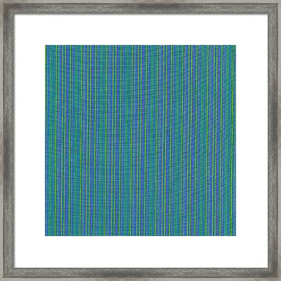 Blue Teal And Yellow Striped Textile Background Framed Print