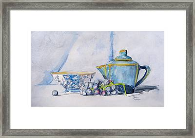 Framed Print featuring the painting Blue Teapot  by Janina  Suuronen