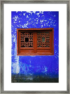 Blue Temple Wall Detail, Mingshan Framed Print by Panoramic Images