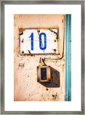 Blue Ten With Rotten Doorbell Framed Print