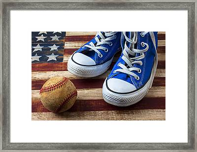 Blue Tennis Shoes And Baseball Framed Print
