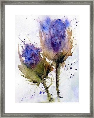 Blue Thistle Framed Print by Anne Duke