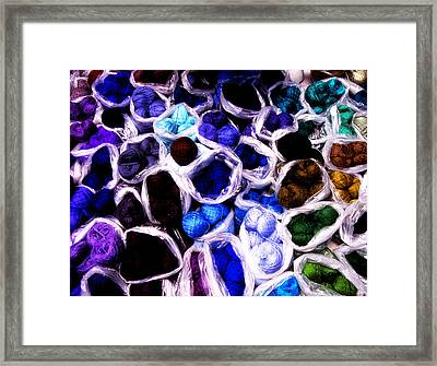 Blue Thread Piles Framed Print