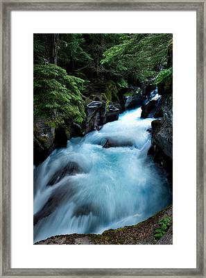 Blue Tones Shine In The Rapids Of Avalanche Creek  Glacier Np Framed Print by Mark Serfass