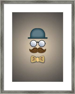 Blue Top Hat Moustache Glasses And Bow Tie Framed Print