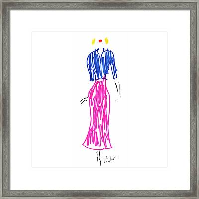 Blue Top With Pink Skirt And Red Lipstick Framed Print by Mark Wilcox