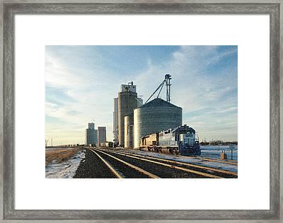 Framed Print featuring the photograph Blue Train Blue Sky by Shirley Heier