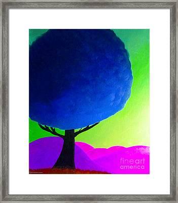 Blue Tree Framed Print by Anita Lewis