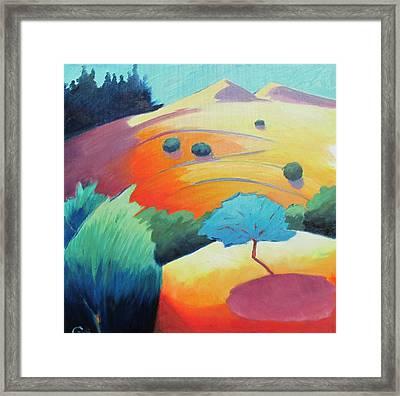 Blue Tree Sketch Framed Print