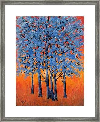 Blue Trees On A Hot Day Framed Print