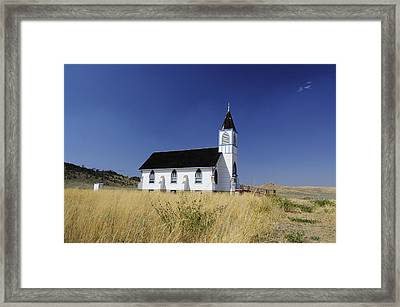 Framed Print featuring the photograph Blue Trim Church by Fran Riley