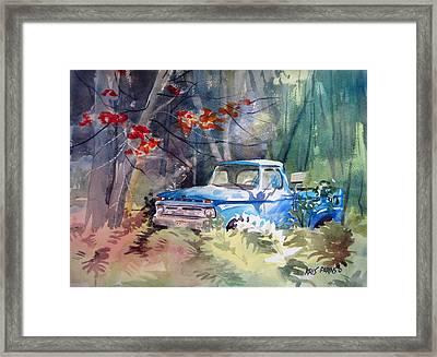 Blue Truck Framed Print by Kris Parins