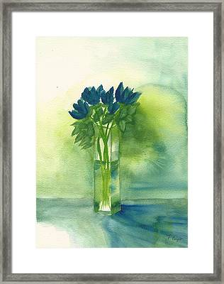 Blue Tulips In Glass Vase Framed Print by Frank Bright