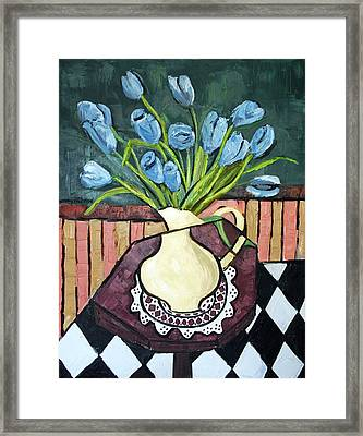 Blue Tulips On Octagon Table Framed Print by Anthony Falbo