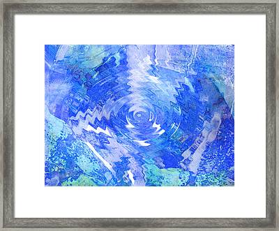 Blue Twirl Abstract Framed Print by Ann Powell