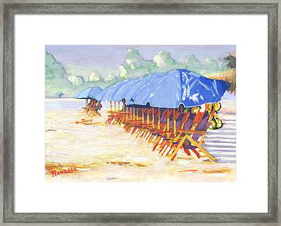 Blue Umbrellas Framed Print by David Randall